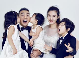 刘�u宏结婚十周年晒全家福,网友:三个小泡芙