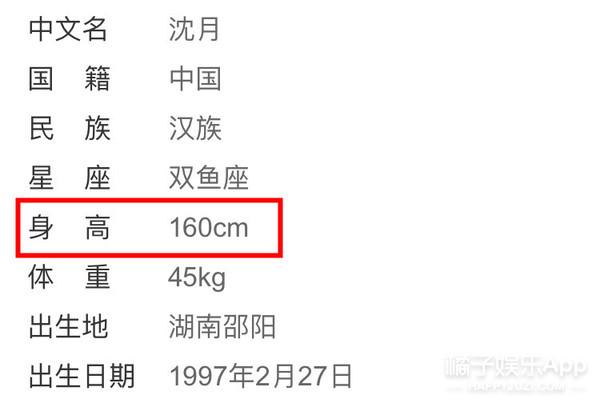 沈月1米6的身高像1米4、小S1米58的像1米78,谜啊