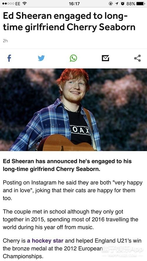 黄老板EdSheeran宣布订婚了,女方是高中同学!