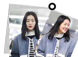 劉雯素顏現身機場,清新藍調look散發滿滿親和力~