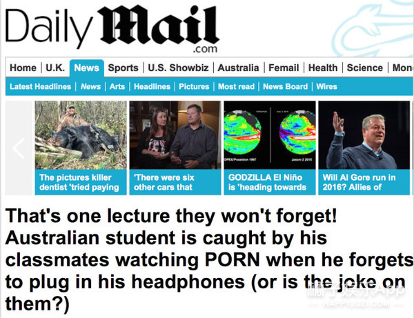 尴尬!澳洲大学一小哥课上看A片竟然没插耳机,结果…