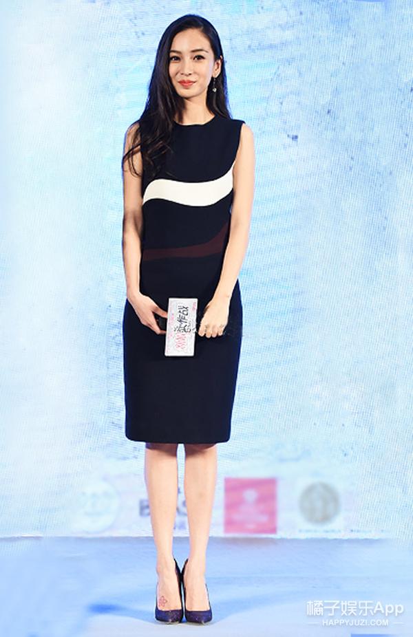 今天她最美 | Angelababy 拼色连衣裙活泼又优雅