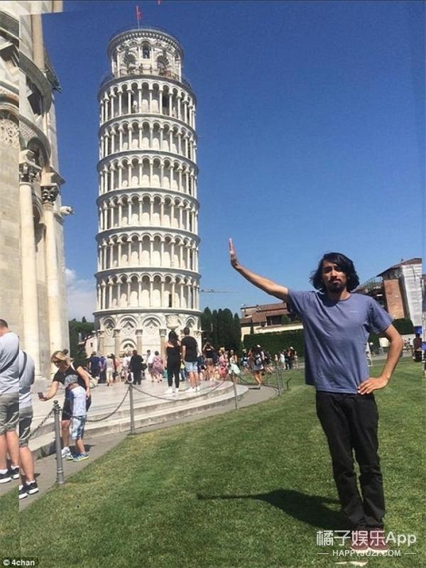 他请网友帮忙ps比萨斜塔前的照片,然后好玩的事情发生了