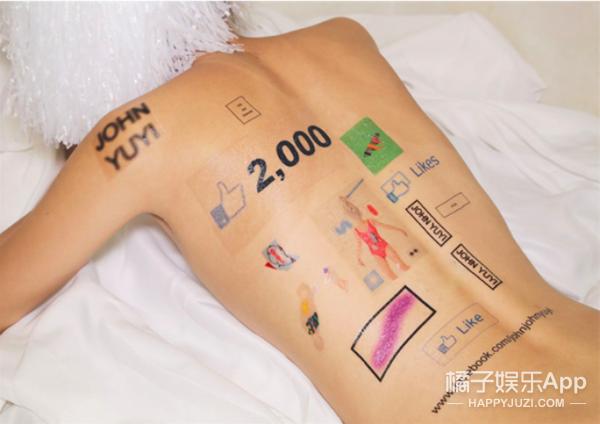 """一位台湾艺术家把网络标志都""""纹""""脸上了,就是为了告诉你,少上网啊 !"""