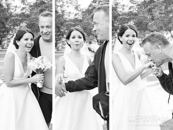 准新人公园拍婚照 被慢跑的汤姆汉克斯抢镜