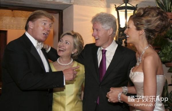 川普和希拉里的老照片:他俩也曾一起玩的很嗨