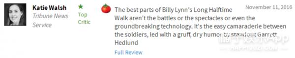 《比利林恩》美国口碑扑街,但赞它的人都英雄所见略同