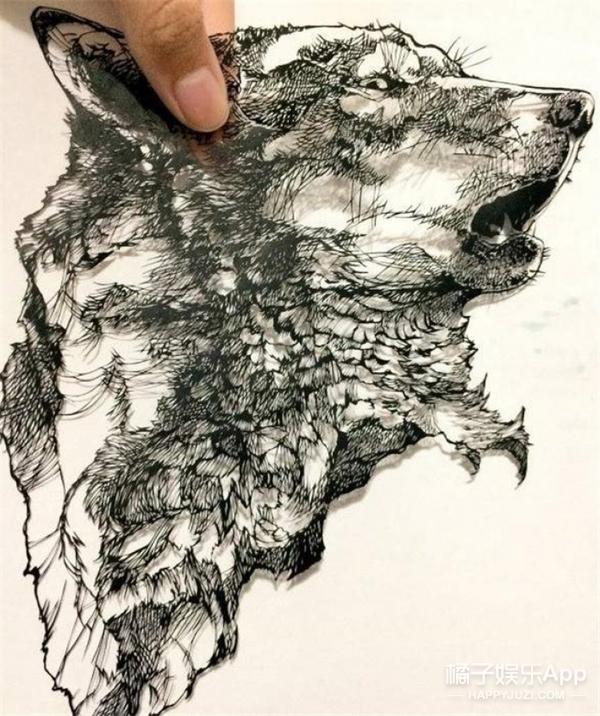 把纸剪成一头狼,这位日本女高中生厉害了