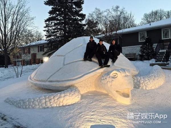 用雪堆出海象、章鱼、海龟,这三兄弟厉害了