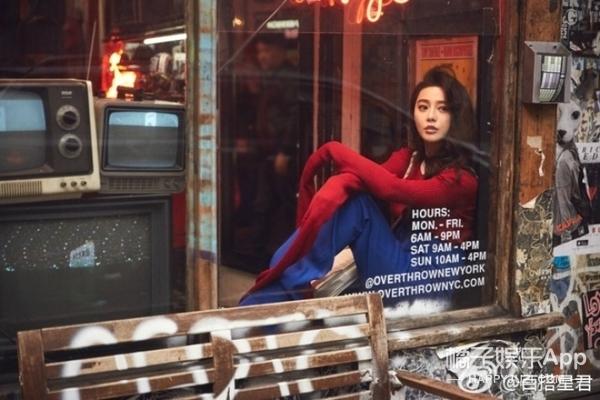 范冰冰2017第一组街拍,化身萌帅鬼马精灵逛古着店~