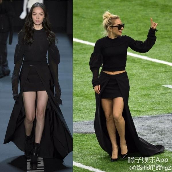 Lady Gaga一身黑色长裙预热超级碗球场,准备表演,气场全开