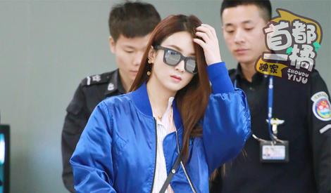 首都一橘机场抓拍赵丽颖,穿搭俏皮的美少女