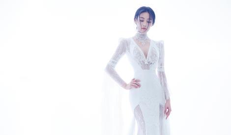 张馨予白色蕾丝裙大片,宛如仙子