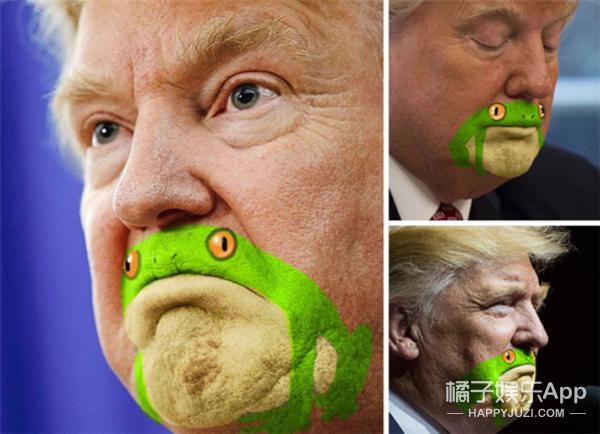 有人说川普下巴像青蛙,然后又被玩坏了