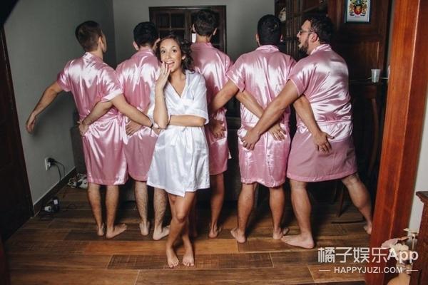 这姑娘请了一波好哥们儿当她的伴娘团...