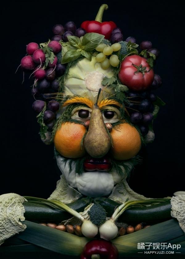 她用蔬菜和水果创造了超现实的肖像