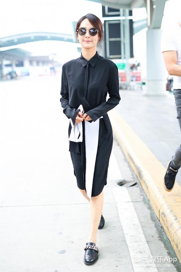 杨紫也走霸道总裁风了?现身机场一套黑色look干练也高冷!