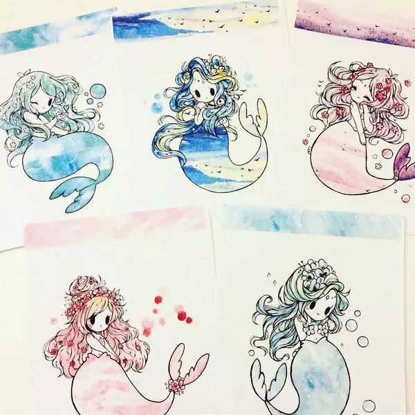 小姐姐平时也会涂鸦一些水彩画