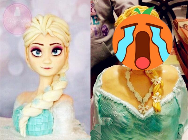 网友定了一个冰雪奇缘的蛋糕 收到后...