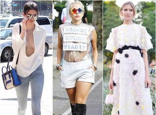 欧美街拍 | Gaga透明上衣真空上阵 卡戴珊坦胸露乳忙扮美