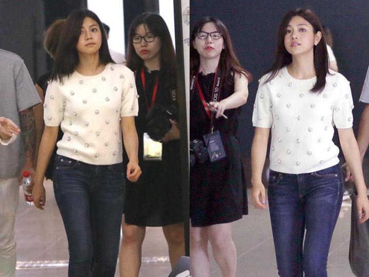 三十好几仍似少女 陈妍希白衫牛仔裤减龄小清新!