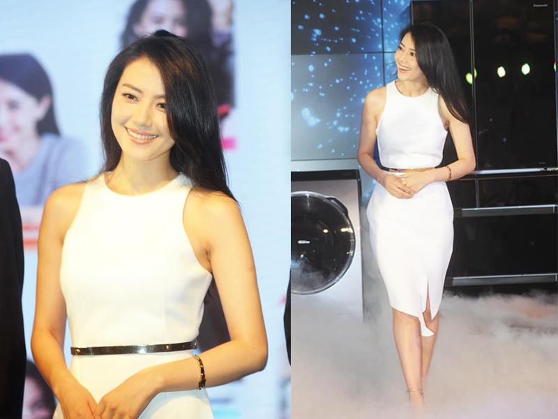 高圆圆香肩美腿穿白裙 浑身都散发着幸福的味道!