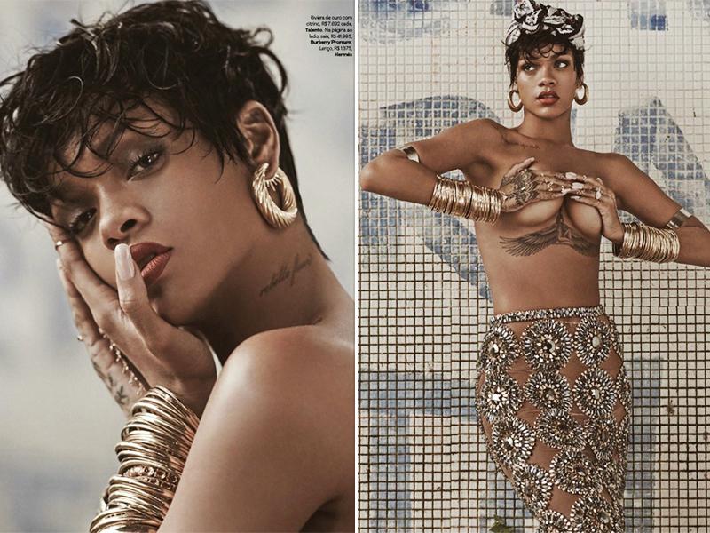 蕾哈娜出镜Vogue全裸上身,骚气难挡霸气十足