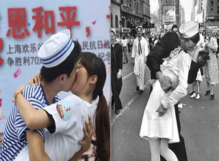 """亲亲又来了!70对情侣再现""""胜利之吻"""",纪念抗战胜利70周年!"""
