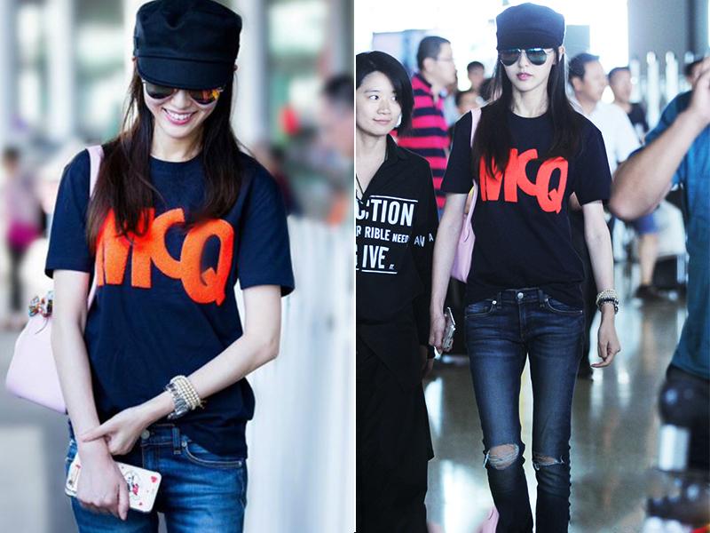 唐嫣全黑机场look,果然黑色就是她的标配!