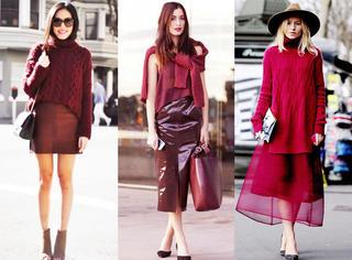 今秋你需要一件酒红色毛衣!