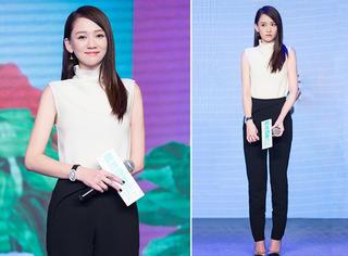 陈乔恩白衫黑裤 穿基本款也美得发光!