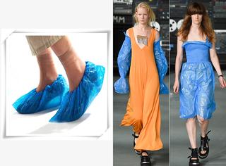 时装周幺蛾子 | 用鞋套做衣服的设计师
