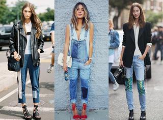 伦敦时装周街拍示范  牛仔裤有补丁才时髦