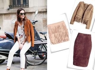 街拍达人的麂皮单品 在H&M、Zara居然都能买到