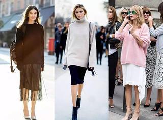 毛衣配半裙才是早秋慵懒的正确方式!