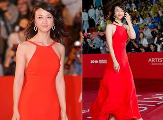 釜山电影节 | 汤唯一袭红裙亮相,哪哪都好就是头发有点糟