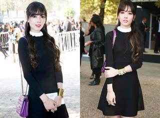郭碧婷穿小黑裙亮相巴黎 网友大呼:留刘海像淘宝女郎!