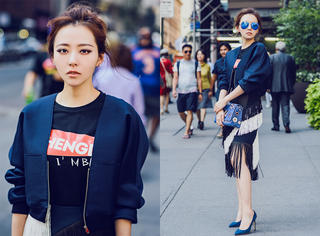 张靓颖街拍 流苏裙配小外套是初秋最好的打扮!