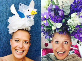 癌症让她失去秀发,她就戴上这些奇特帽子来笑对人生