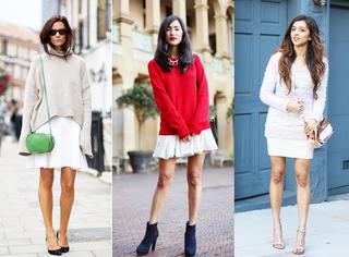 毛衣+半裙,穿的这么优雅,怎么能不迷人!