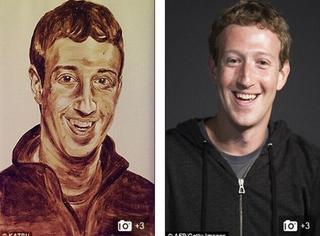 他用粑粑给facebook创始人画肖像,这是多大仇多大怨?