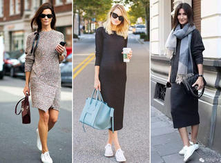 美翻了!针织裙+运动鞋的35个最佳示范