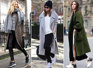 大衣+球鞋,秋冬这样搭配刚刚好,保暖又时髦漂亮!