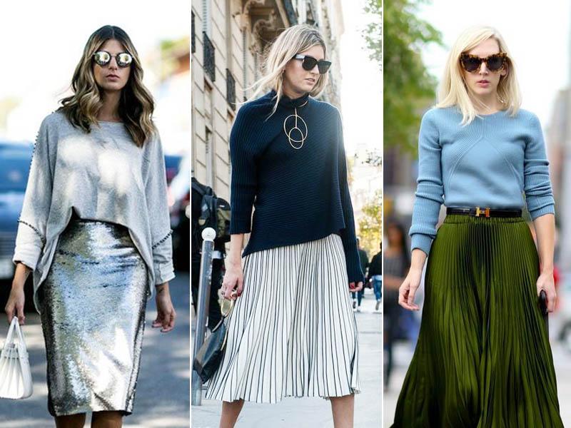 套头毛衣+半裙,3种搭配让人看了就想抱你!