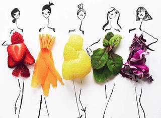 别只懂Po自拍照,来看ins上玩转美食与时尚结合的俏皮时装画!