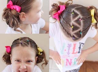 萝莉发型花样秀,晒娃要到这种程度才完美!