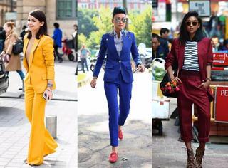 潮流街拍 | 西服就该成套穿,咱们姑娘有力量!