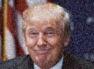 """多大仇?网友竟用500张""""丁丁""""照,拼成一副总统候选人的样子…"""
