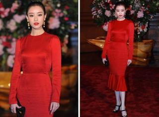 倪妮秀美艳红裙身材火辣,把旁边的男明星都变成了路人