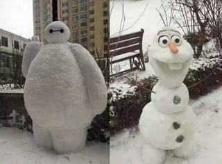 看看人类堆出来的雪人有多可怕和荒谬好吗!心累!